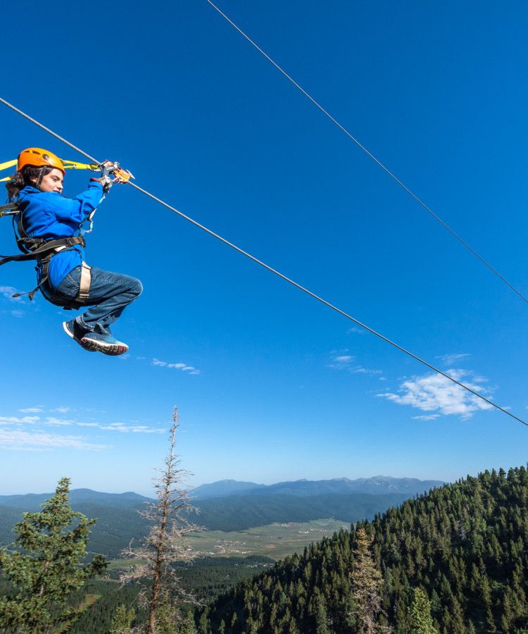 Ziplining at Angel Fire Resort in Angel Fire, New Mexico.