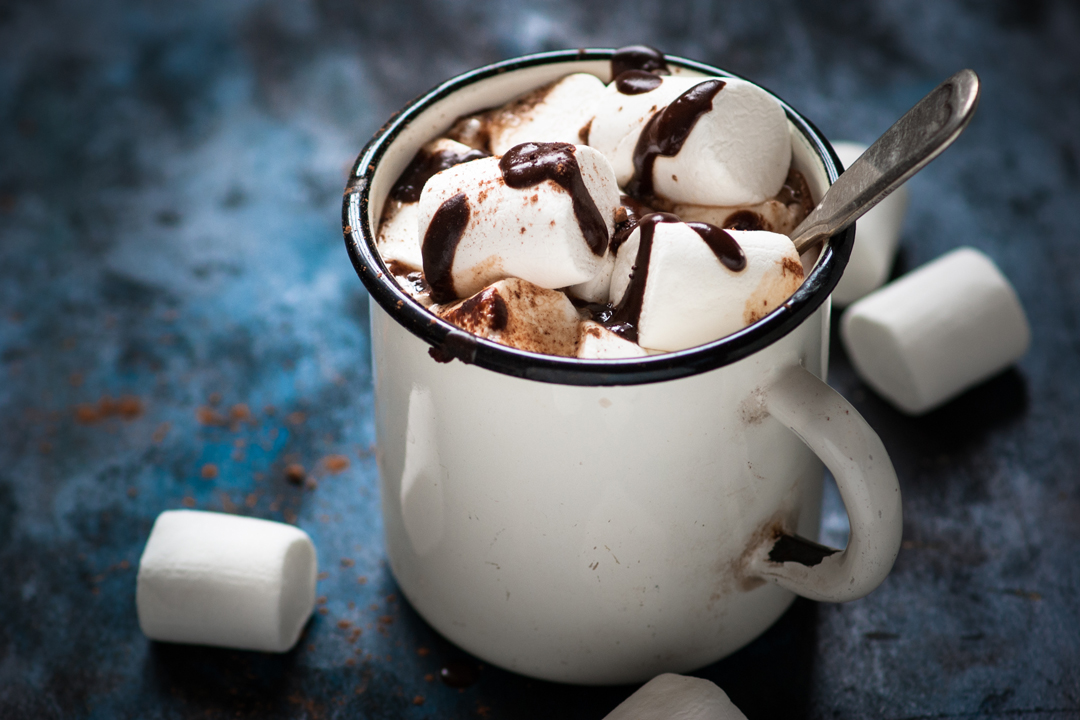 Hot Chocolate with marshmallow in the mug. Hot winter drink.