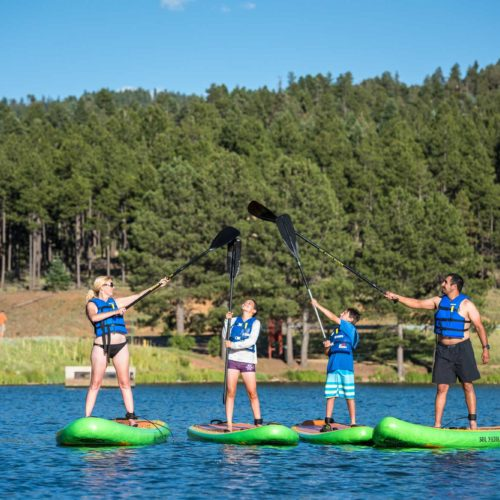 Paddle Boarding in Monte Verde Lake in Angel Fire, New Mexico.